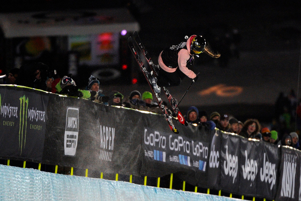. Maddie Bowman flies over the crowd during her first run at the women\'s ski superpipe final in Aspen at Winter X Games in Aspen, January 24, 2014. Bowman went on to win gold in the event. (Photo By Mahala Gaylord/The Denver Post)