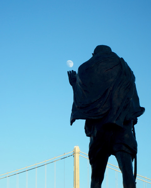 Gandhi admiring the beauty of the moon