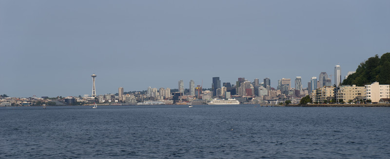 Seattle in view. Smoke from forrest fires in Canada and western WA dull the otherwise sparkling view.