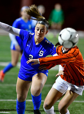 11/19/2019 Mike Orazzi | Staff Southington High School's Micaela Potamis (3) during the Class LL Semifinal Girls Soccer match at Naugatuck High School Tuesday night. Southington advanced to the final 1-0.