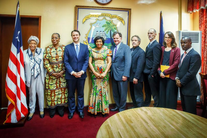 Monrovia, Liberia October 12, 2017 -  Madame Samba-Panza and TCC leadership meet with Liberian president Ellen Johnson Sirleaf.