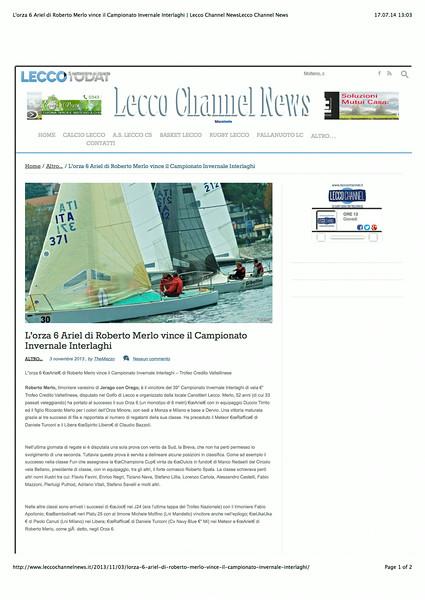 2013Nov03_Interlaghi 2013 |leccochannelnews.it| L'orza 6 Ariel di Roberto Merlo vince il Campionato Invernale Interlaghi_01.jpg