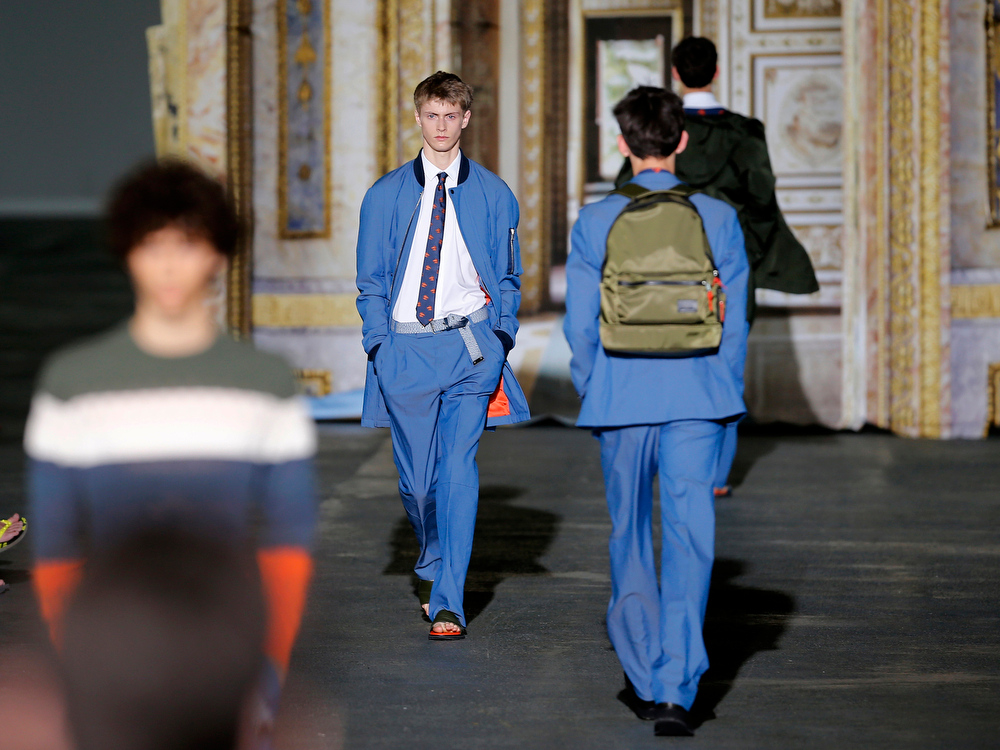 . Models wear creations by Belgian designer Kris Van Assche as part of his men\'s Spring-Summer 2015, fashion collection, presented Friday, June 27, 2014 in Paris. (AP Photo/Jacques Brinon)
