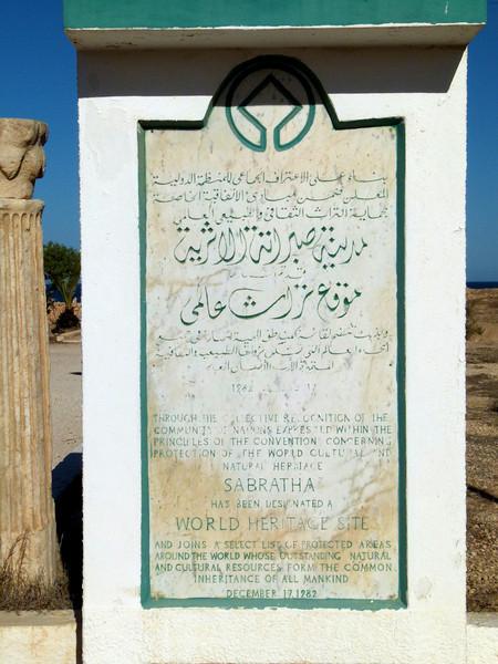 Sabratha World Heritage Site since 1982.