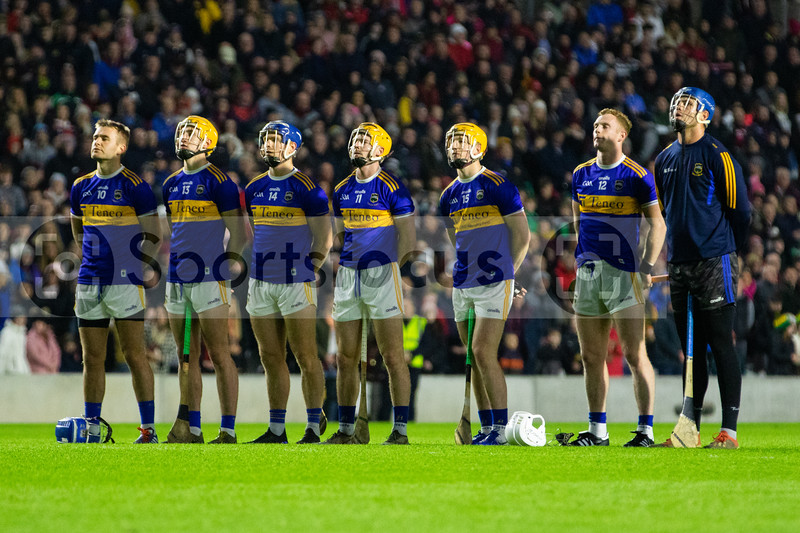 Tipperary players John McGrath, Mark Kehoe, Jason Forde, Cian Darcy, Jake Morris, Michael Breen and Brian Hogan stand for the national anthem