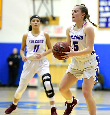 3/8/2019 Mike Orazzi   Staff St. Paul Catholic High Schools Emma Cretella (5) during the Class S Semifinal girls basketball game with Trinity Catholic at Newtown High School Friday night in Newtown.