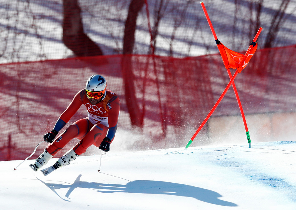 . Norway\'s Aksel Lund Svindal skis during the men\'s downhill at the 2018 Winter Olympics in Jeongseon, South Korea, Thursday, Feb. 15, 2018. (AP Photo/Patrick Semansky)