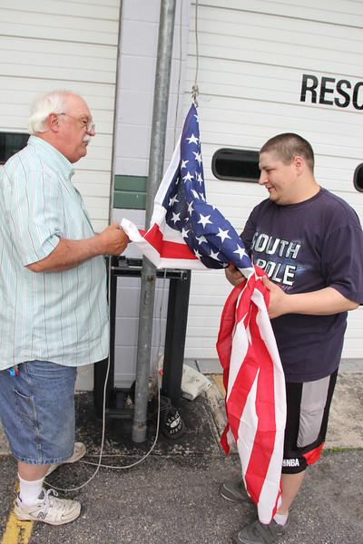 Putting Up New American, State Flag, Tamaqua Rescue Squad, Tamaqua (5-23-2013)