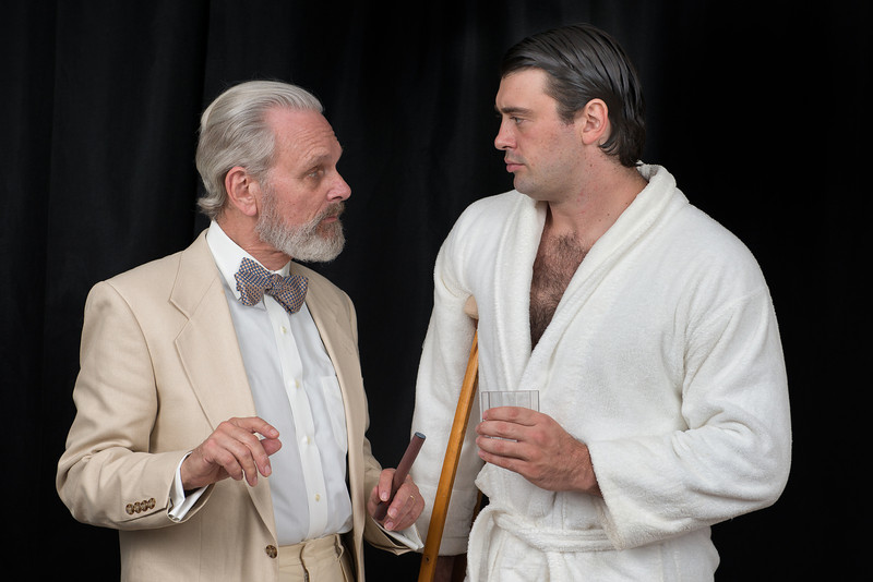 Keir Dullea as Big Daddy and Steven DeMarco as Brick in Cat on a Hot Tin Roof, WHAT and Provincetown Tennessee Williams Theater Festival (©2013 by Michael Karchmer)