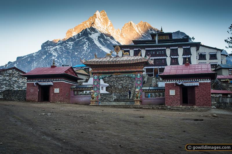 First light on Kongde peak at Tengboche monastery