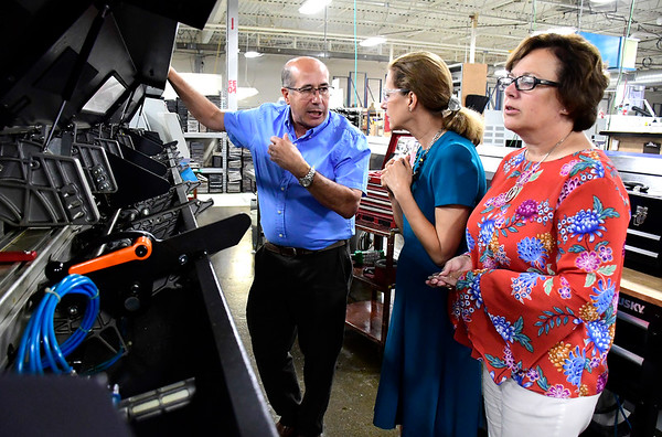 9/7/2018 Mike Orazzi | Staff Victor DaCruz talks with Lt. Governor Candidate Susan Bysiewicz and Bristol Mayor Ellen Zoppo-Sassu during a tour of the DaCruz Manufacturing in Bristol Friday.