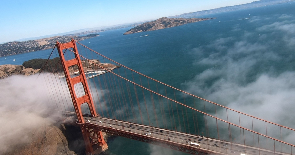 Looking down at the Golden Gate Bridge