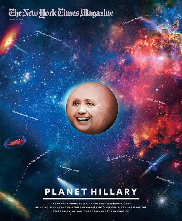 """. <p>8. PLANET HILLARY <p>Looks like the New York Times Magazine has joined the Vast Right-Wing Conspiracy. (unranked) <p><b><a href=\'http://abcnews.go.com/blogs/politics/2014/01/all-the-planet-hillary-memes-you-need-to-see/\' target=\""""_blank\""""> HUH?</a></b> <p>   (New York Times Magazine cover)"""