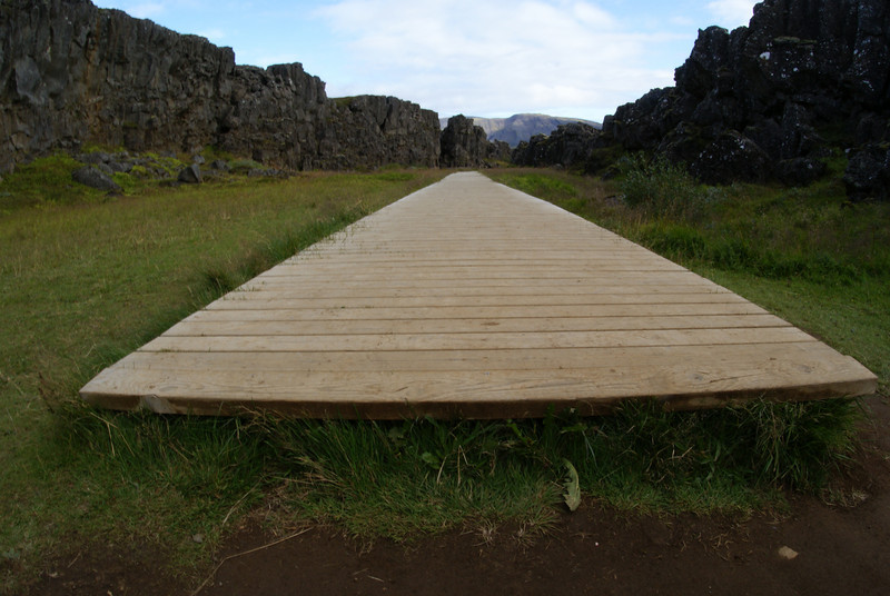 Þingvellir National Park.  The walkway started right there at the bottom of the picture just above the dirt.
