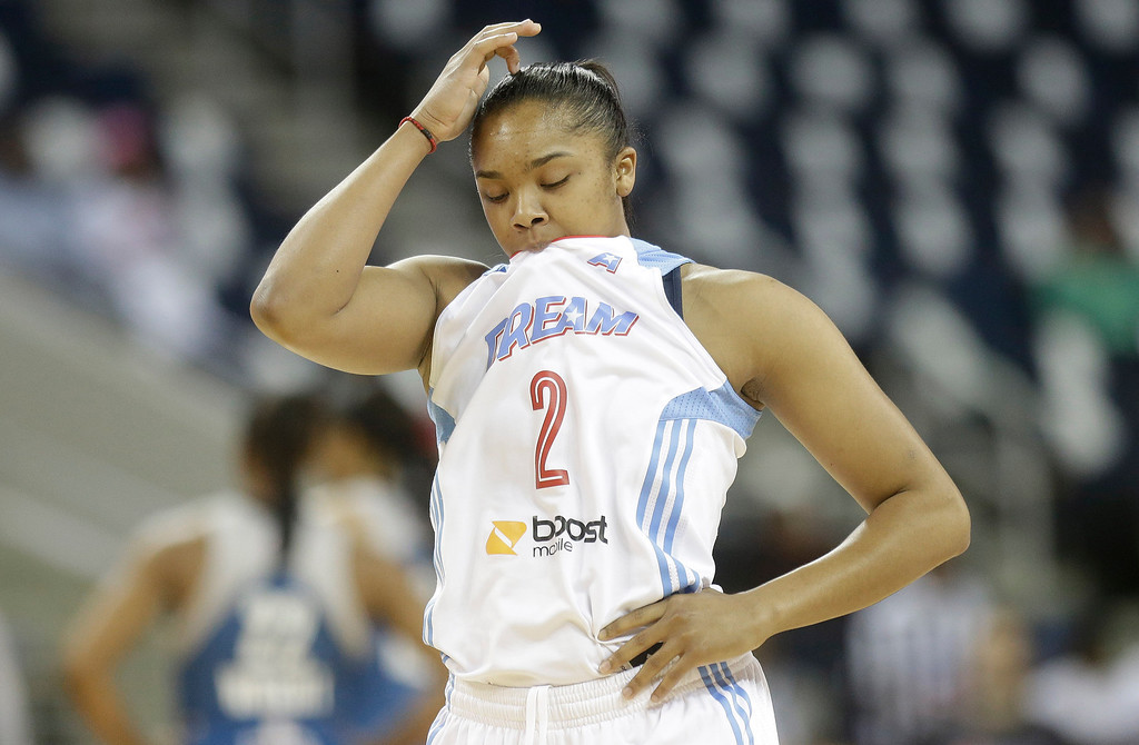 . Atlanta Dream\'s Alex Brantley (2) walks down the court after play against the Minnesota Lynx during the first half of Game 3 of the WNBA Finals basketball game in Duluth, Ga., Thursday, Oct. 10, 2013. (AP Photo/John Bazemore)