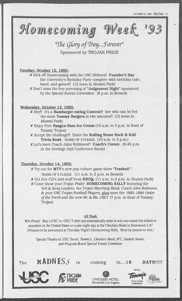 Daily Trojan, Vol. 121, No. 30, October 12, 1993