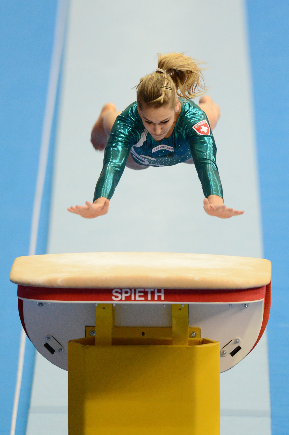 . Switzerland\'s Giulia Steingruber competes on the vault in the women\'s apparatus artistic gymnastics finals during the 5th European Men\'s and Women\'s Artistic Gymnastic Individual Championships in Moscow on April 20, 2013. Switzerland\'s Giulia Steingruber took the first place and Netherlands Noel van Klaveren shared the second place with Romania\'s Larisa Andreea Iordache.  NATALIA KOLESNIKOVA/AFP/Getty Images