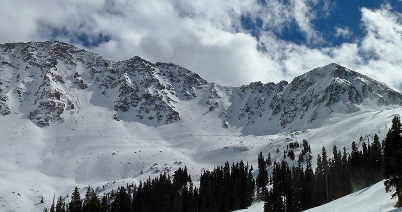 The view of the mountains at Arapahoe Basin. You can ski these chutes if you hike up (no thanks!)