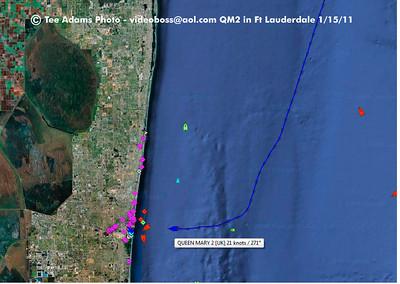 QM2 enters Ft Lauderdale - webcam Then QV-QE Panama