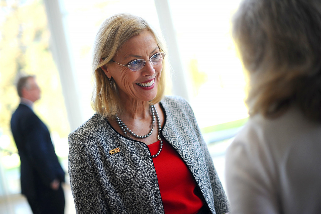. CSUN President Dianne F. Harrison talks with guests following her third annual convocation address Thursday, August 21, 2014.(Andy Holzman/Daily News Staff Photographer)
