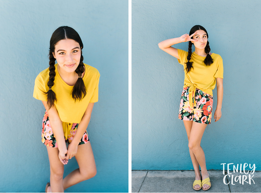 Bay Area colorful and playful lifestyle teen model headshot portfolio session in San Mateo by Tenley Clark Photography