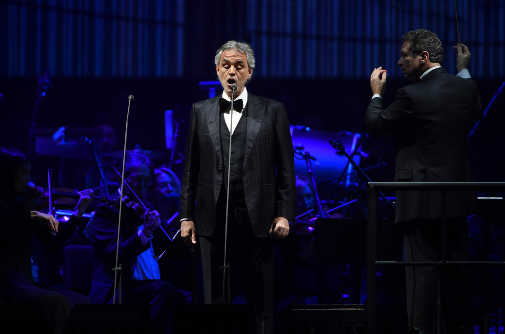 . Singer Andrea Bocelli performs with conductor Eugene Kohn and The Philharmonic of New York at Madison Square Garden on Thursday, Dec. 15, 2016, in New York. Bocelli will perform Dec. 1 at Quicken Loans Arena in Cleveland. For more information, visit www.theqarena.com/events/detail/bocelli-171201. (Photo by Evan Agostini)