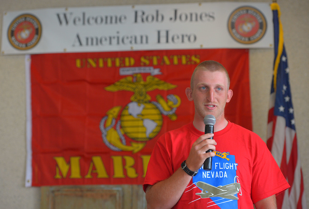 . Double amputee marine veteran Rob Jones is celebrated at a reception at the Hotel Maya in Long Beach, CA on Thursday, April 10, 2014. Jones began riding his bicycle across the country in Maine in October and will his fundraising journey Saturday at Camp Pendleton. (Photo by Scott Varley, Daily Breeze)