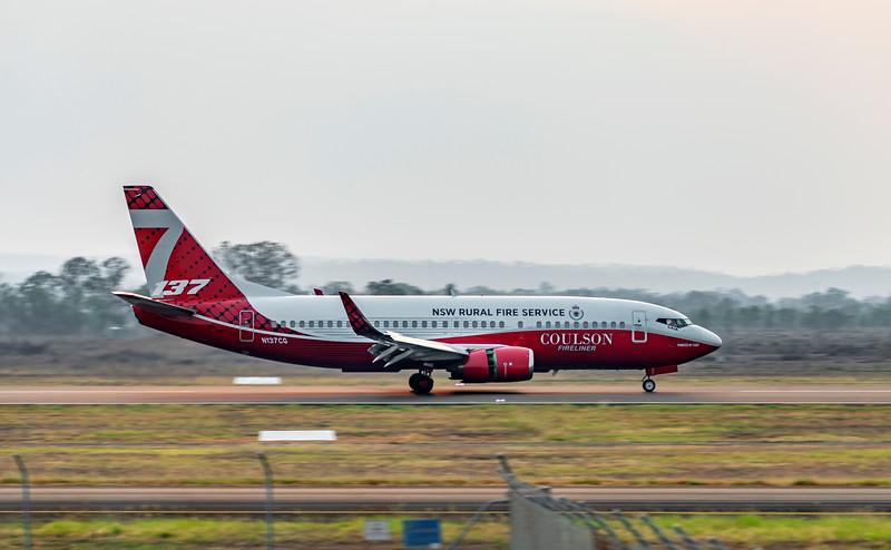 NSW Rural Fire Service Boeing 737-3H4 N137CG Water Bomber landing at Rockhampton Airport