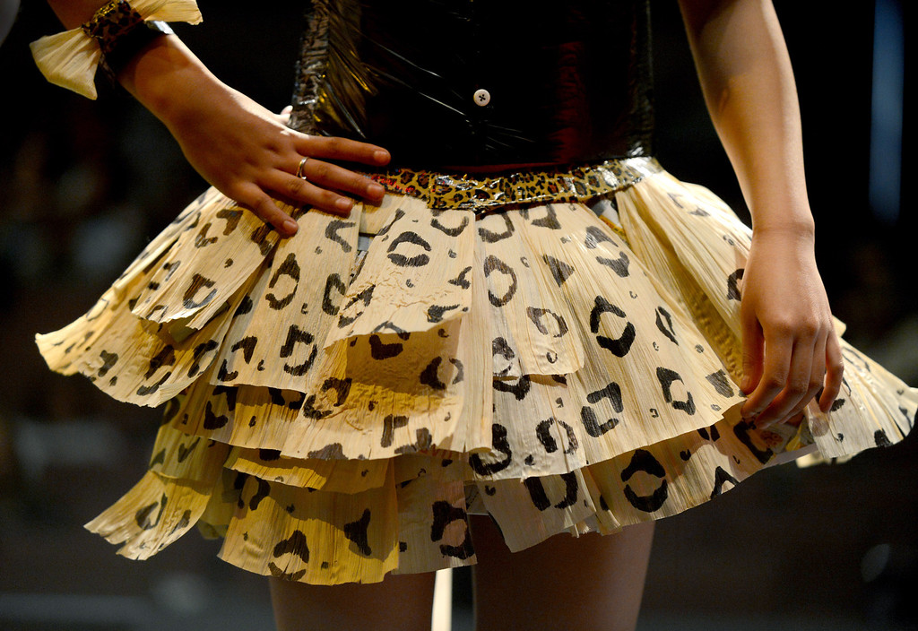 . Corn husks and a sharpie pen make up this cheetah print skirt modeled by Alyssa Freyler at the third annual Paper Skirt Fashion Show held at Liberty High School in Brentwood, Calif. on Tuesday, Jan. 29, 2013.  Beginning clothing instructor Ada Weeks has students come up with their own designs using paper, duct tape, recycled materials, wrapping paper, printer paper  and newspapers. (Susan Tripp Pollard/Staff)