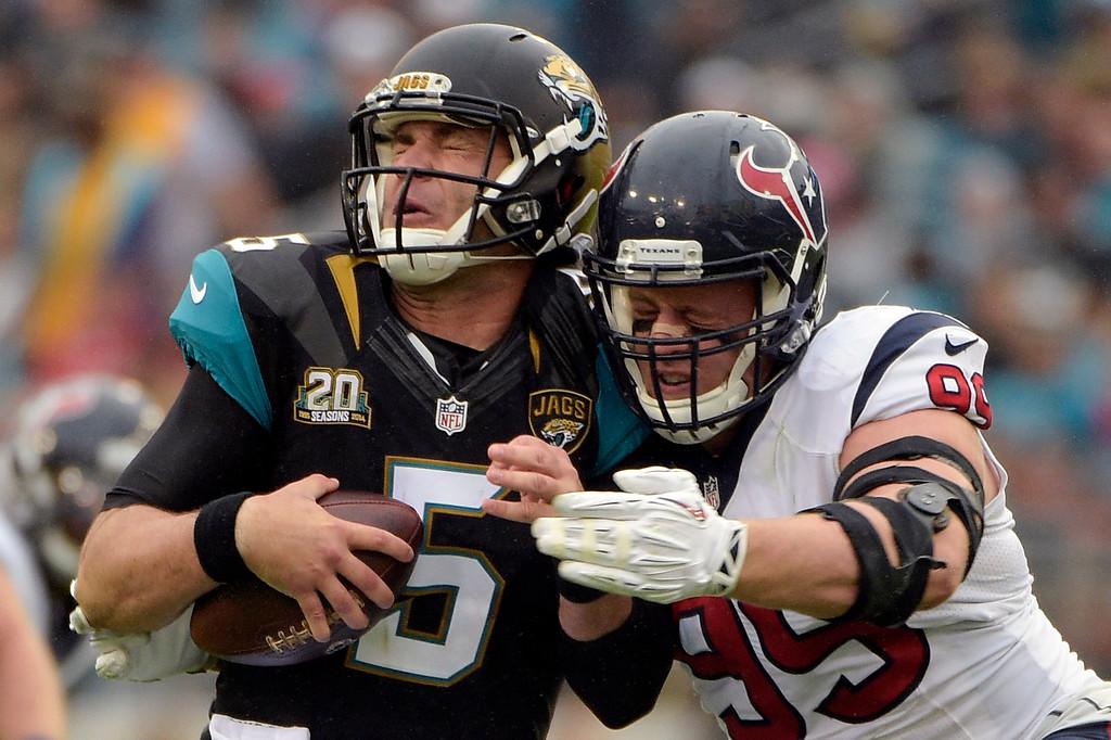 . Jacksonville Jaguars quarterback Blake Bortles (5) is sacked by Houston Texans defensive end J.J. Watt (99) during the first half of an NFL football game in Jacksonville, Fla., Sunday, Dec. 7, 2014. (AP Photo/Phelan M. Ebenhack)