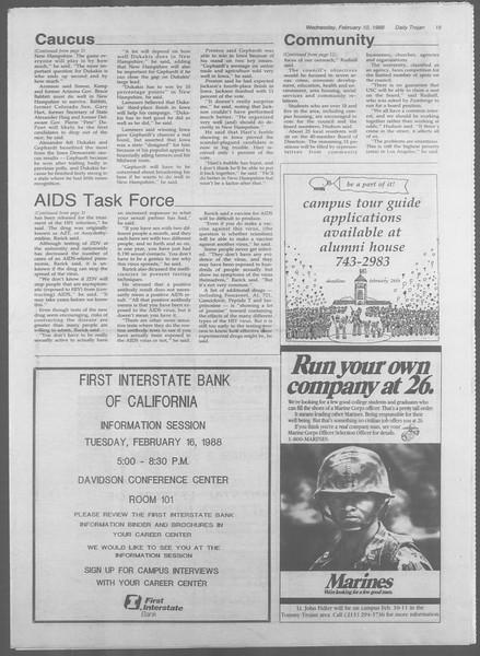 Daily Trojan, Vol. 106, No. 22, February 10, 1988