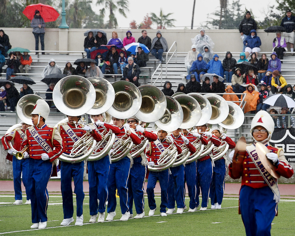 . Los Angeles Unified School Distric All District High School Honor Band performing at Bandfest Tuesday, December 30, 2014.  These feature bands selected to participate in the 2015 Rose Parade. Over the course of two days, each band, along with its auxiliary performers, will present the field show that has led to its success. Three Bandfest events will take place at Pasadena City College on December 29 and 30, 2014..(Photo by Walt Mancini/Pasadena Star-New)