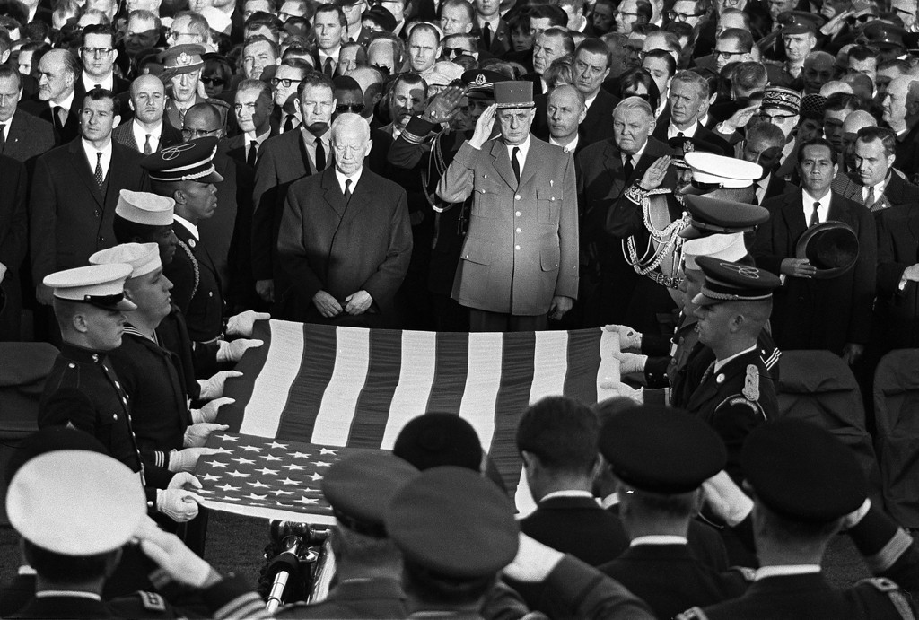 . From left: German President Heinrich Luebke, French President Gen. Charles de Gaulle, German Chancellor Ludwig Erhard and French Premier Maurice Couve de Murville pay their respects in front of the Capitol on Nov. 24, 1963 AFP/Getty Images