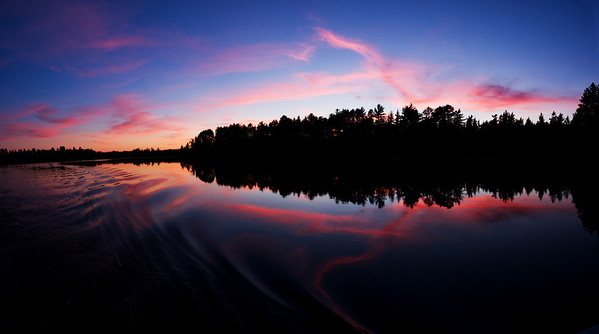 Sunset from a boat.  Near Minocqua WI.  6 vertical images stitched together to create this image.
