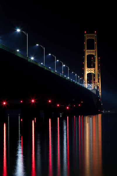 Mackinac Bridge glowing in the September night.
