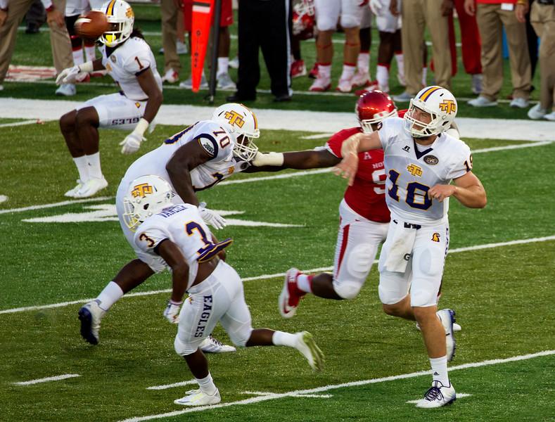 Tennessee Tech QB Davis gets one away.