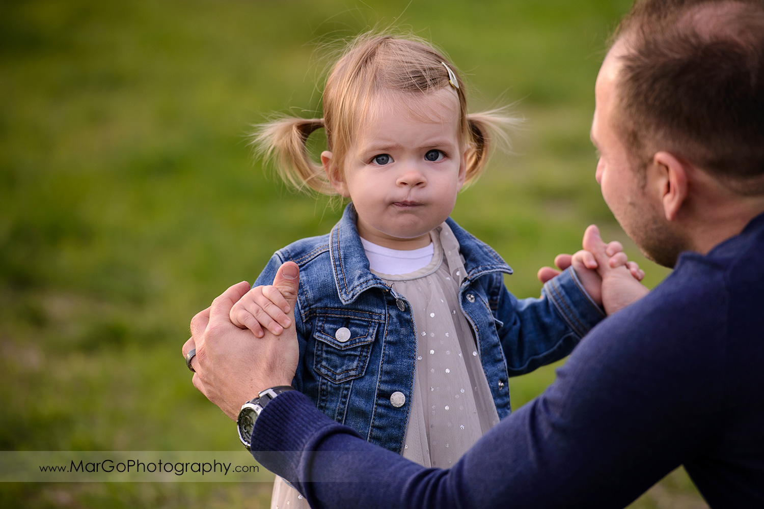 little girl in white dress and jeans jacket holding hands with father in navy blue sweater during family session at San Jose Martial Cottle Park