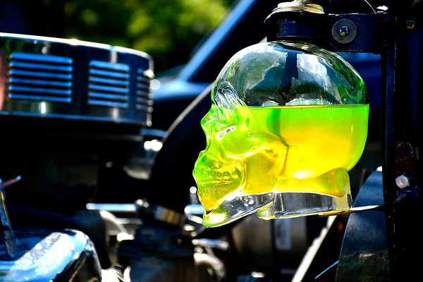 9/21/2019 Mike Orazzi | StaffrA skull used as the coolant overflow container on one the cars displayed during Saturday's Mum Festival on Memorial Boulevard in Bristol.