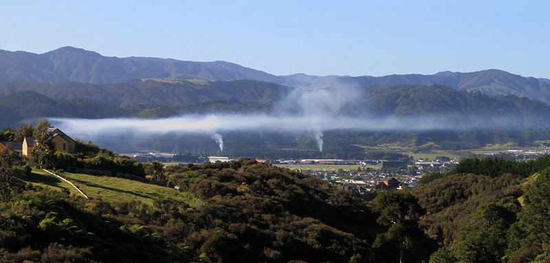 Smoke and inversion over Trentham (Upper Hutt), 8:20am 1st December 2011.