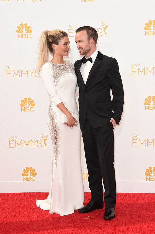 . Actor Aaron Paul (R) and  Lauren Parsekian attend the 66th Annual Primetime Emmy Awards held at Nokia Theatre L.A. Live on August 25, 2014 in Los Angeles, California.  (Photo by Jason Merritt/Getty Images)