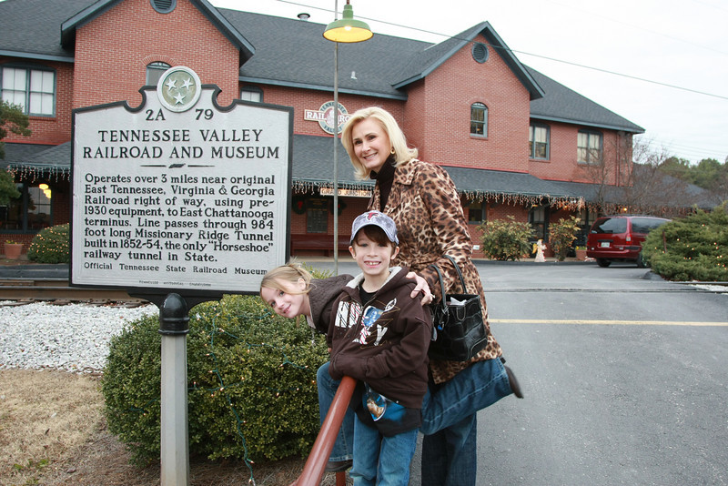 Debbie, Reece and Reagan getting ready for the ride to the North Pole on the Tennessee Valley Railroad's historical line and equipment.