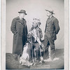 """Title: """"Little,"""" the instigator of Indian Revolt at Pine Ridge<br /> Little, Oglala band leader, full-length studio portrait seated between two Euro-American men who are standing on either side of him; Chris Mathison (?) on left. 1890.<br /> Repository: Library of Congress Prints and Photographs Division Washington, D.C. 20540"""