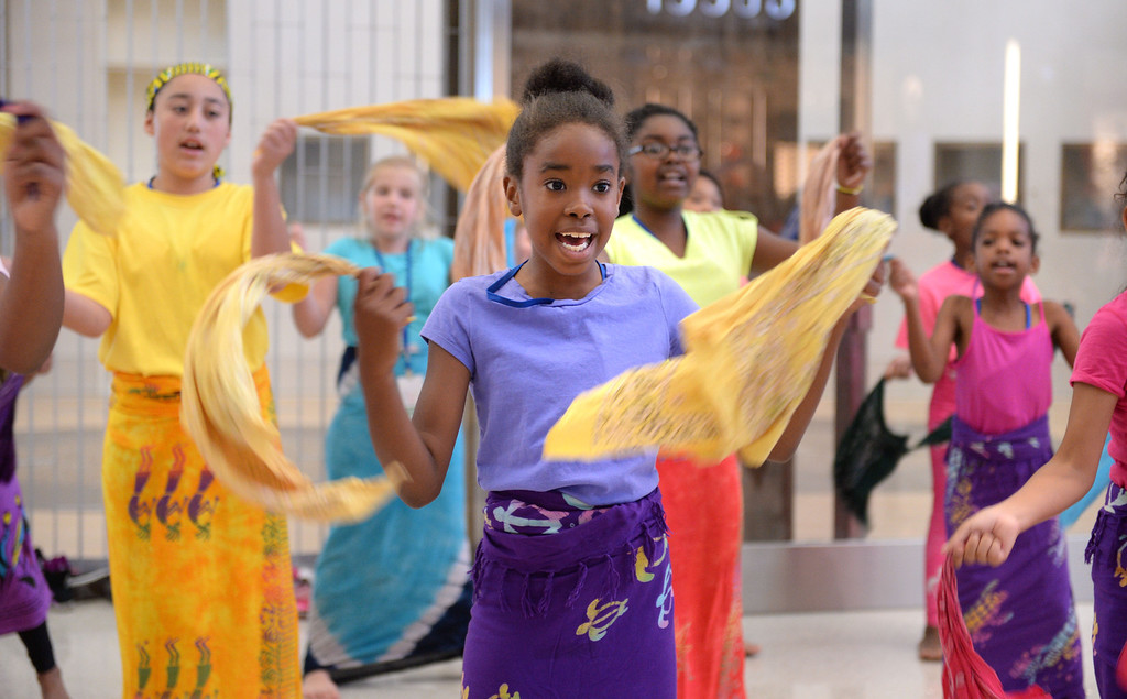 . Lauren Reves of the Loyola Village Elem. School performers. At LAX, dignitaries gathered to open the new Tom Bradley International Terminal. (Wed. Sept 18, 2013 Photo by Brad Graverson/The Daily Breeze