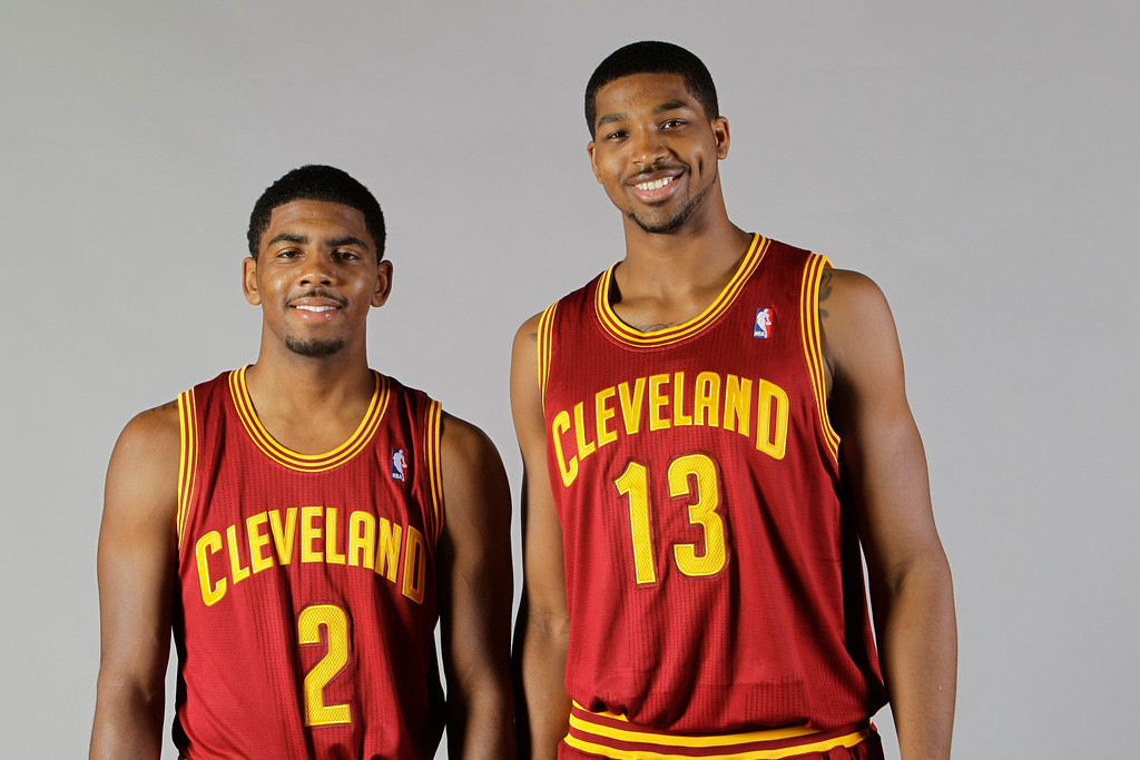 . This is a 2011 photo of rookies Kyrie Irving (2) and Tristan Thompson (13) of the Cleveland Cavaliers\' NBA basketball team. This image reflects the Cavaliers active roster as of Monday, Dec. 12, 2011 when this image was taken. (AP Photo/Mark Duncan)