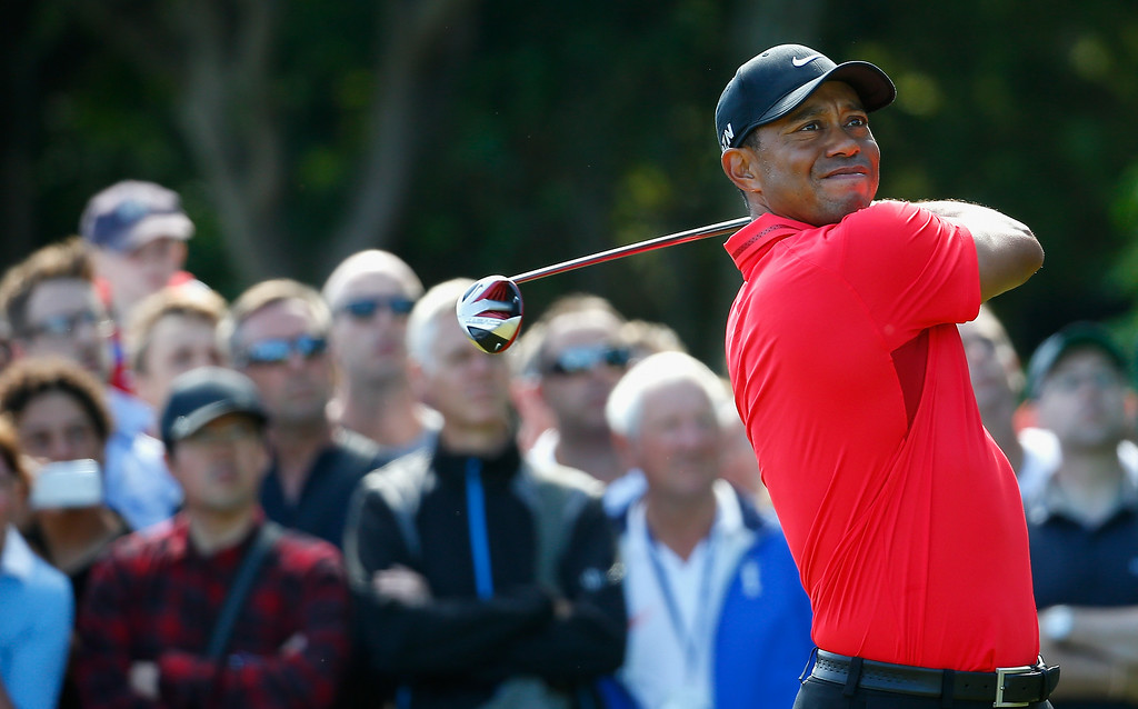 . Tiger Woods of the United States tees off on the 5th hole during the final round of The 143rd Open Championship at Royal Liverpool on July 20, 2014 in Hoylake, England.  (Photo by Tom Pennington/Getty Images)