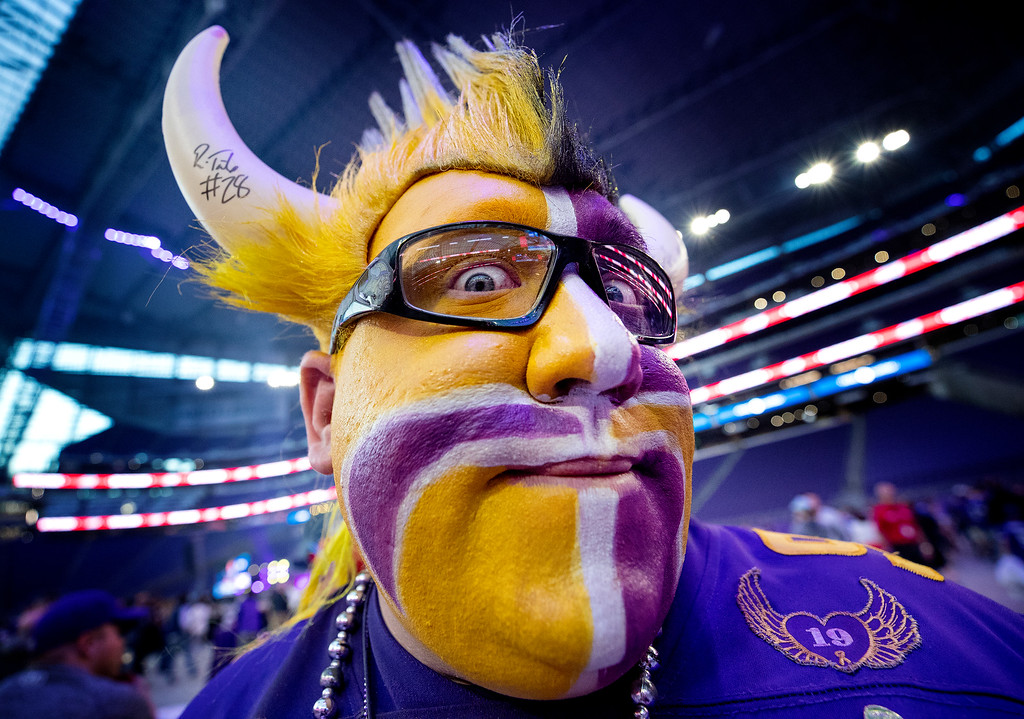 . Minnesota Vikings fan T.J. Day attends the NFL football team\'s draft party Thursday, April 26, 2018, in Minneapolis. (Carlos Gonzalez/Star Tribune via AP)