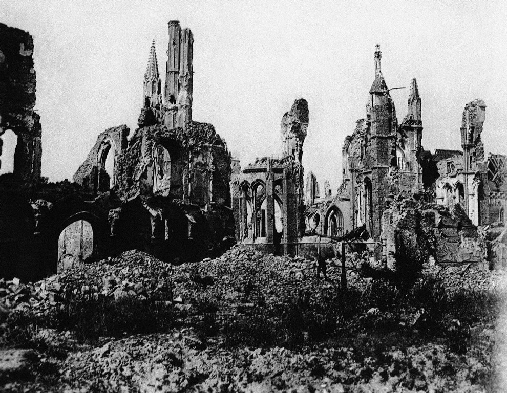 . Ypres Cathedral in Ypres, Belgium, seen from the market square during World War I in an undated photo. (AP Photo)