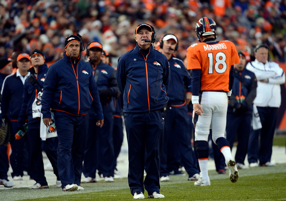 . Broncos Head Coach John Fox on the sideline as Denver Broncos quarterback Peyton Manning (18) walks off the field.  The Denver Broncos vs Cleveland Browns at Sports Authority Field Sunday December 23, 2012. Joe Amon, The Denver Post