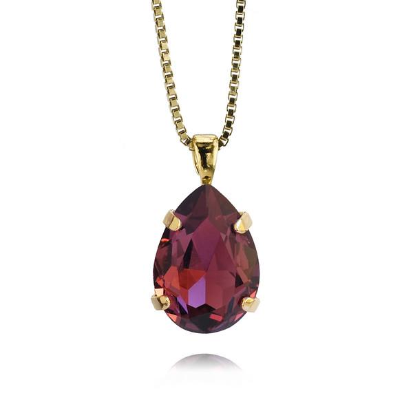 Mini Drop Necklace / Burgundy / Gold