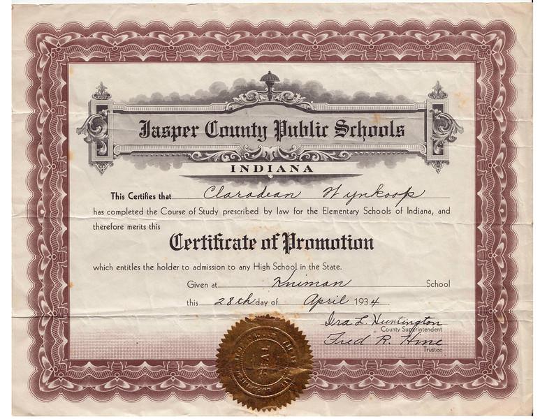 Claradean Wynkoop - Certificate of Promotion - April 28,1934.jpg